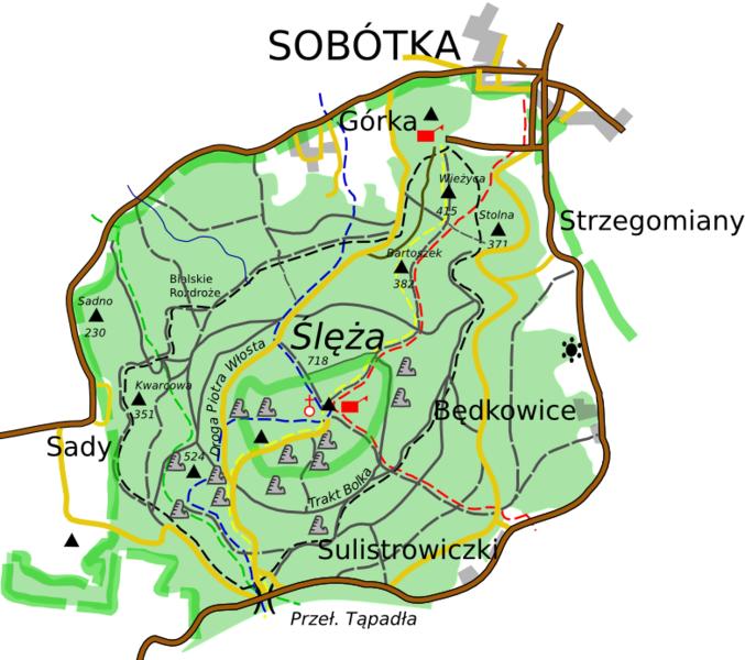 Mapa Ślęża i okolica - źródło Wikipedia