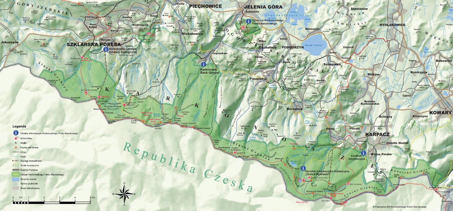 Karkonoski Park Narodowy - mapa