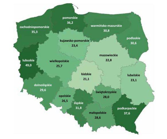 Lesistość Polski w 2011 r. Rys. Lasy Państwowe