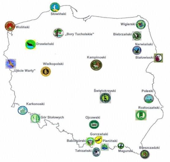 Rozmieszczenie parków narodowych w Polsce, źródło: Ministerstwo Ochrony Środowiska