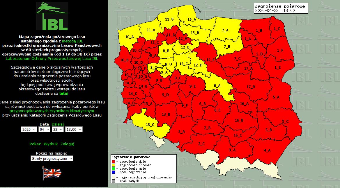 Aktualny stan zagrożenia pożarowego w lasach, źródło: http://bazapozarow.ibles.pl/zagrozenie/